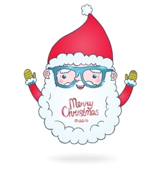 Cute cartoon Santa Claus with hipster glasses vector image