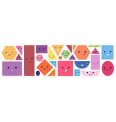 cute geometric faces isolated polygon face with vector image