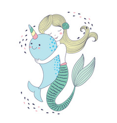 Cute kawaii mermaid hugs a whale vector