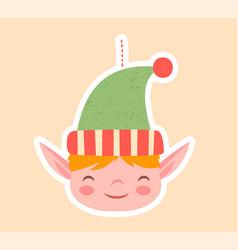 cute little elf christmas tree ornament vector image