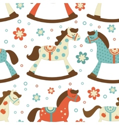 Cute rocking horses background vector image