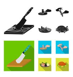 cutlass on a cutting board hammer for chops vector image