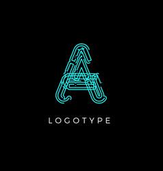 Cyber letter a for digital technology logo concept vector