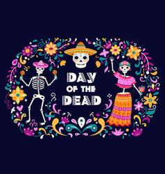 day dead poster mexican sugar skulls death vector image