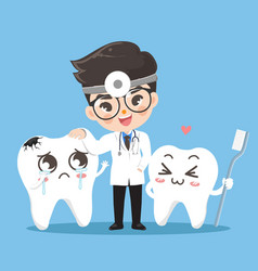 Dent cute and tooth smile together vector
