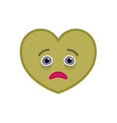 Diseased heart shaped funny emoticon icon vector