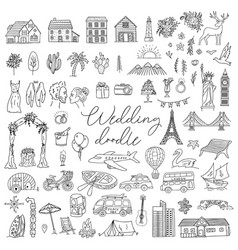 Doodle wedding icon set with decorative elements vector