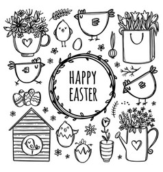 Easter collection holiday monochrome vector