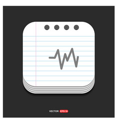 Ecg icon gray icon on notepad style template eps vector