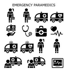 Emergency paramedics ambulance icons set vector