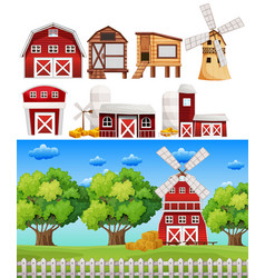 farm scene with different buildings vector image