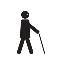 Flat icon in black and white style man with stick vector