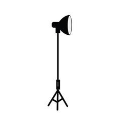Flat studio light at tripod vector