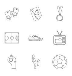Football things icons set outline style vector