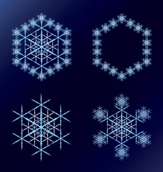 Four blue snowflakes on a dark blue background vector image