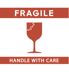 Fragile handle with care sign simple flat style vector