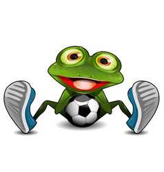 frog sitting with a soccer ball vector image