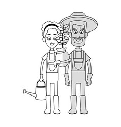 gardener couple icon vector image