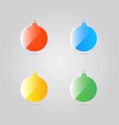 glass shiny colorful christmas balls vector image