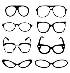 glasses set on set background vector image