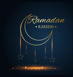 Golden islamic moon and stars ramadan kareem vector