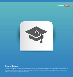 graduation cap icon - blue sticker button vector image