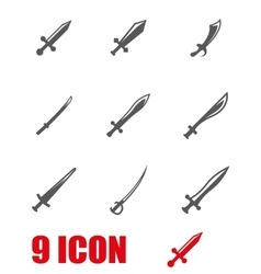grey sword icon set vector image