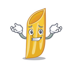 Grinning penne pasta character cartoon vector