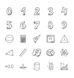 Hand drawn doodles of mathematics vector