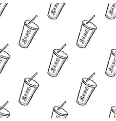 hand drawn soda drink seamless pattern background vector image