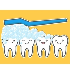 Happy cute teeth and toothbrush vector image