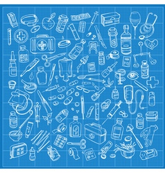 Health care and medicine doodle icon set vector image