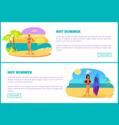 hot summer web poster tropical beach and women vector image