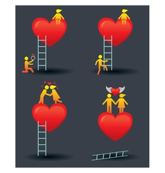 Human symbol love story with ladder vector
