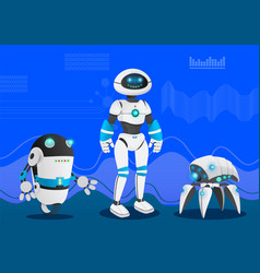 humanoid robots with artificial intelligence vector image