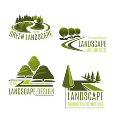 Icons for nature landscaping company vector