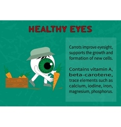 Info about the benefits of carrot for eyesight vector image