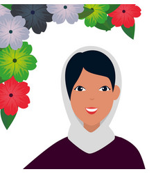Islamic woman with traditional burka and flowers vector
