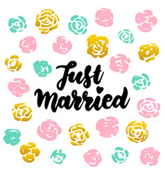 just married handwritten postcard vector image