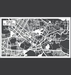 Kabul afghanistan city map in black and white vector