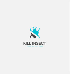 Kill insect logo with modern insecticide pest vector