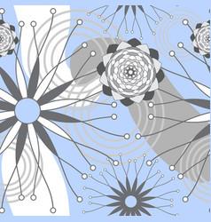light blue grey and white geometric modern flowers vector image