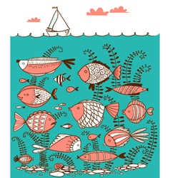 line art doodle with underwater fishes vector image