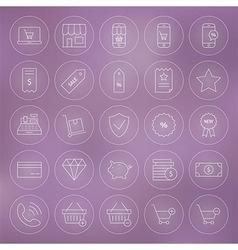 Line Circle Shop Market E-commerce Icons Set vector image