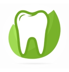 logo combination tooth on green leafs vector image