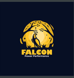 Logo falcon mascot cartoon style vector