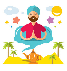 Man genie of the lamp flat style colorful vector
