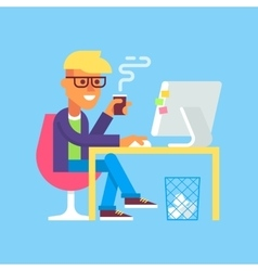 Man is working with computer and drinking coffee vector