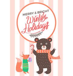 Merry christma icon bear fox vector