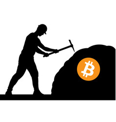 Mining bitcoin concept - miner silhouette vector